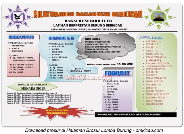 Brosur Latpres Silaturahmi Bakauheni Berkicau, Lampung Selatan, 21 September 2014