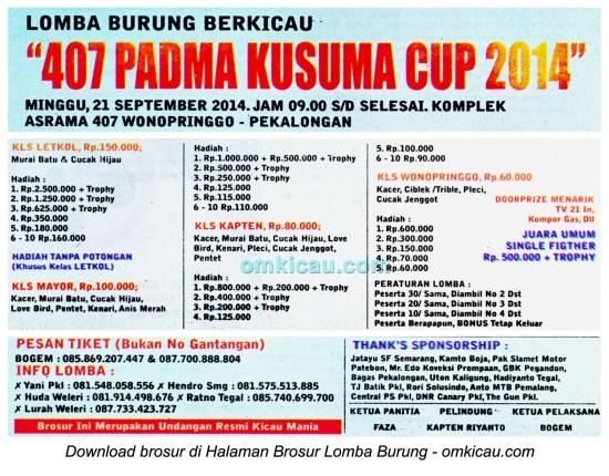Brosur Lomba Burung Berkicau 407 Padma Kusuma Cup, Pekalongan, 21 September 2014