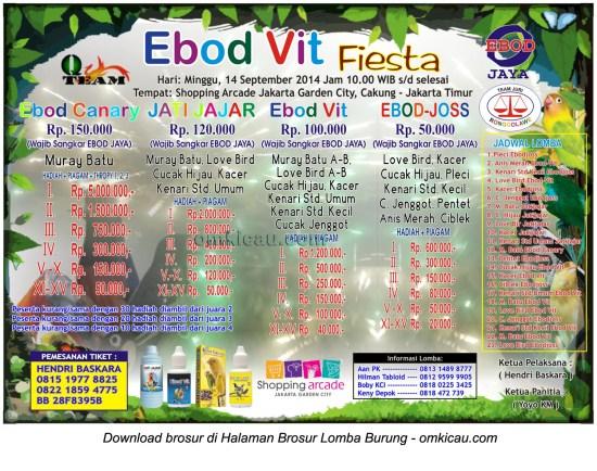 Brosur Lomba Burung Berkicau Ebod Vit Fiesta, Jakarta Timur, 14 September 2014