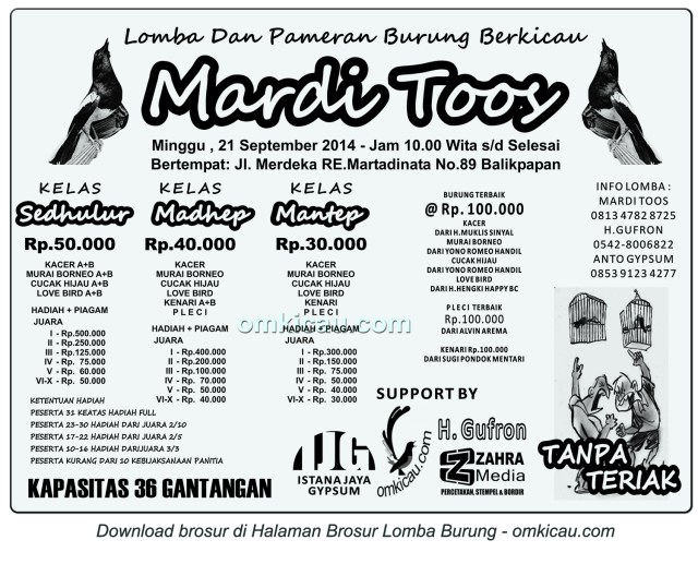 Brosur Lomba Burung Berkicau Mardi Toos, Balikpapan, 21 September 2014