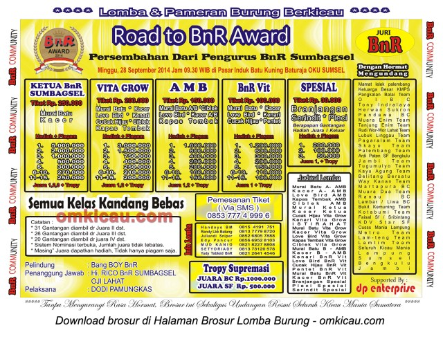 Brosur Lomba Burung Berkicau Road to BnR Award, Baturaja OKU, 28 September 2014