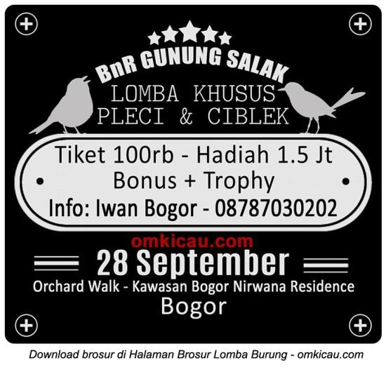 Brosur Lomba Burung Ciblek dan Pleci, Bogor, 28 September 2014