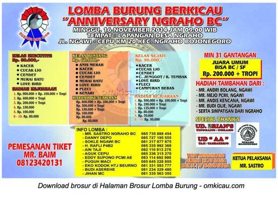 Brosur Lomba Burung Berkicau Anniversary Ngraho BC, Bojonegoro, 16 November 2014