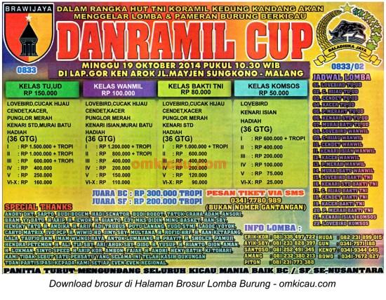 Brosur Lomba Burung Berkicau Danramil Cup, Malang, 19 Oktober 2014