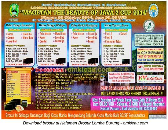 Brosur Lomba Burung Magetan The Beauty of Java Cup 2, Magetan, 26 Oktober 2014