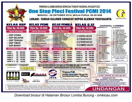 Brosur One Stop Pleci Festival PCMI 2014, Jogja, 26 Oktober 2014
