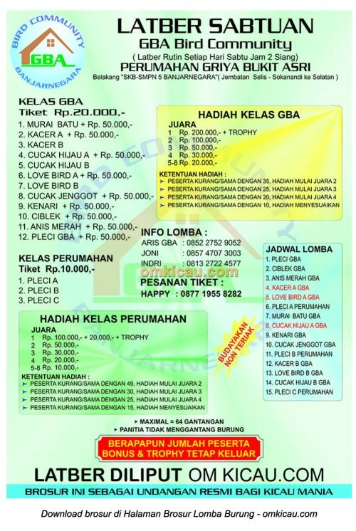 Brosur Latber Sabtuan GBA Bird Community, Banjarnegara