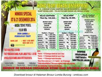 Brosur Lomba Burung Berkicau Koko Team, Bekasi, 7 & 21 Desember 2014