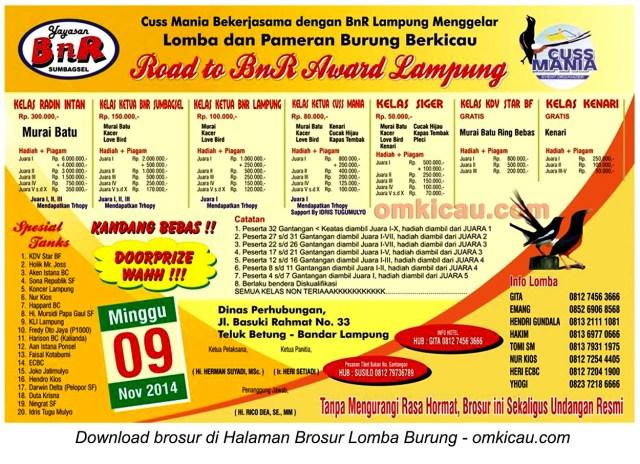Brosur Lomba Burung Berkicau Road to BnR Award, Bandar Lampung, 9 November 2014