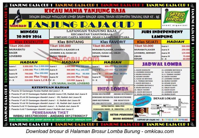 Brosur Lomba Burung Berkicau Tanjung Raja Cup 1, Lampung Utara, 30 November 2014