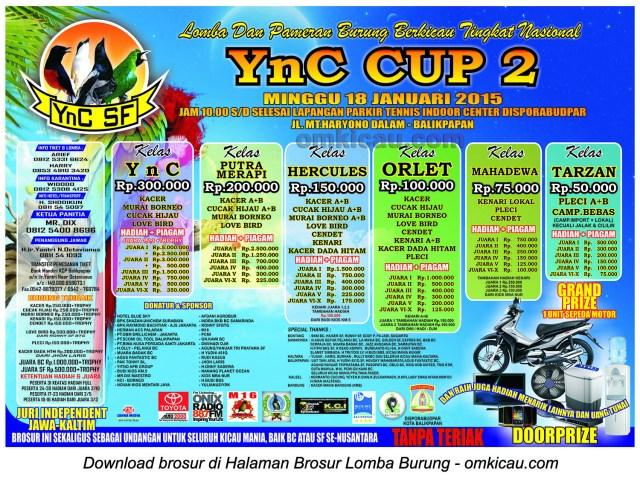 Brosur Lomba Burung Berkicau YnC Cup 2, Balikpapan, 18 Januari 2015