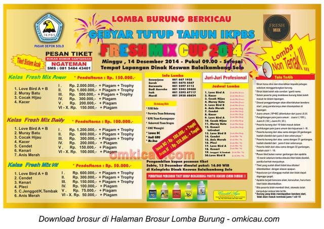 Brosur Lomba Burung Gebyar Tutup Tahun IKPBS Freshmix Cup, Solo, 14 Desember 2014