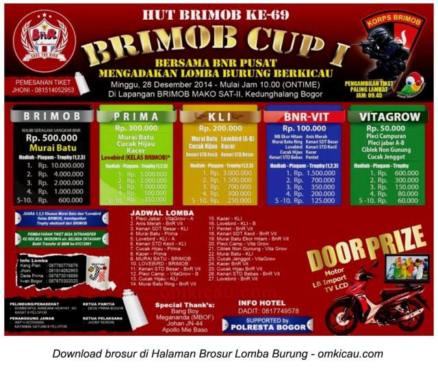 Brosur Lomba Burung Berkicau Brimob Cup I, Bogor, 28 Desember 2014