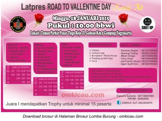 Brosur Latpres Road to Valentine Day - Kawula Alit, Jogja, 18 Januari 2015