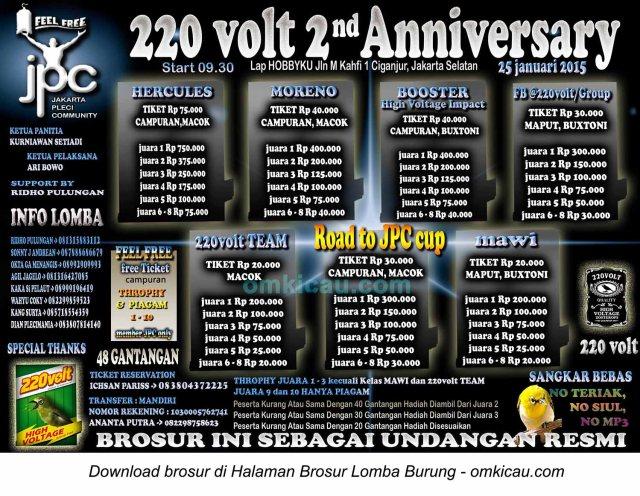 Brosur Lomba Burung Berkicau 220 Volt 2nd Anniversary, Jakarta Selatan, 25 Januari 2015
