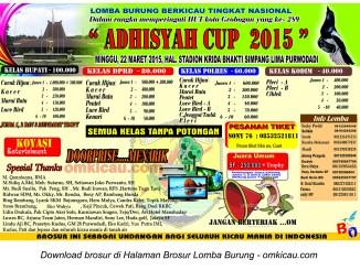 Brosur Lomba Burung Berkicau Adhisyah Cup, Purwodadi, 22 Maret 2015