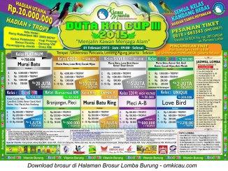 Brosur Lomba Burung Berkicau Duta KM Cup III-Jakarta-1 Februari 2015