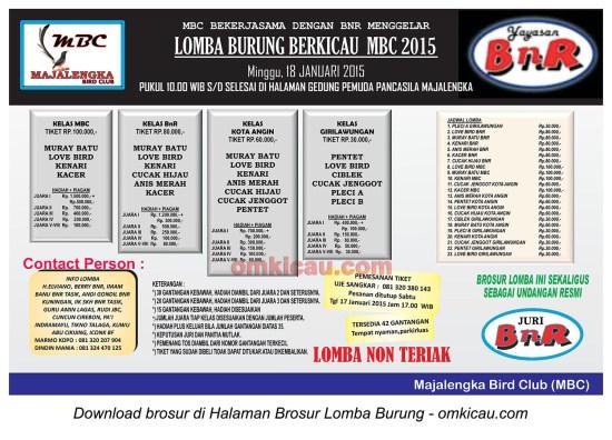 Brosur Lomba Burung Berkicau MBC 2015, Majalengka, 18 Januari 2015