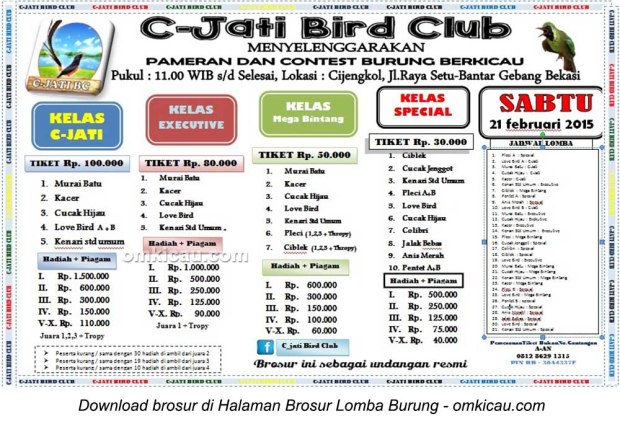 Brosur Latpres Burung Berkicau C-Jati Bird Club, Bekasi, 21 Februari 2015