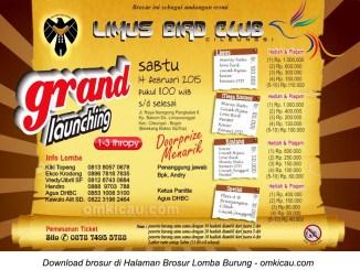 Brosur Lomba Burung Berkicau Grand Launching Limus BC, Bogor, 14 Februari 2015