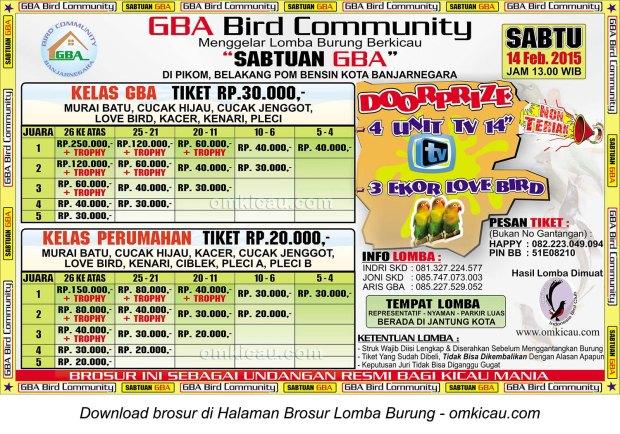 Brosur Lomba Burung Berkicau Sabtuan GBA, Banjarnegara, 14 Februari 2015