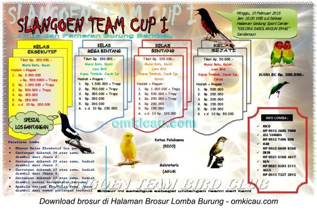 Brosur Lomba Burung Berkicau Slangoen Team Cup I, Sarolangun, 15 Februari 2015