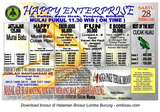 Brosur Lomba Burung Happy Enterprise, Bogor, 28 Februari 2015