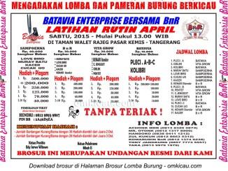 Brosur Latihan Rutin April Batavia Enterprise, Tangerang, setiap Sabtu pukul 13