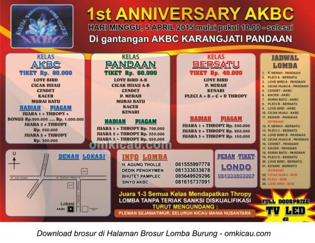 Brosur Lomba Burung Berkicau 1st Anniversary AKBC, Pandaan, 5 April 2015