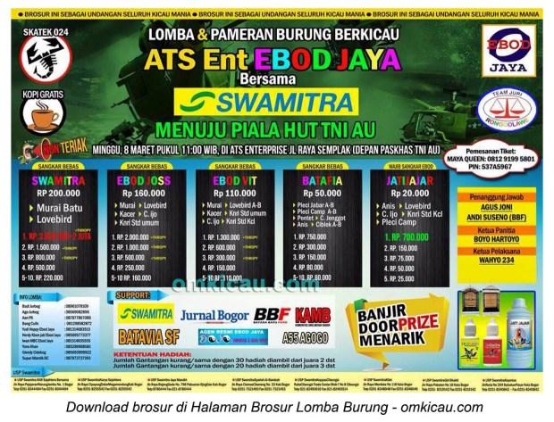 Brosur Lomba Burung Berkicau Menuju Piala HUT TNI AU, Bogor, 8 Maret 2015