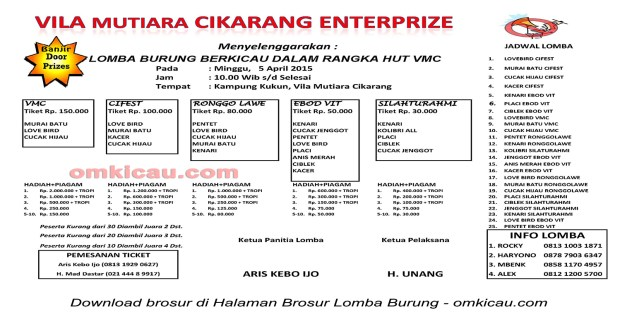 Brosur Lomba Burung Berkicau Vila Mutiara Cikarang Enterprise, 5 April 2015
