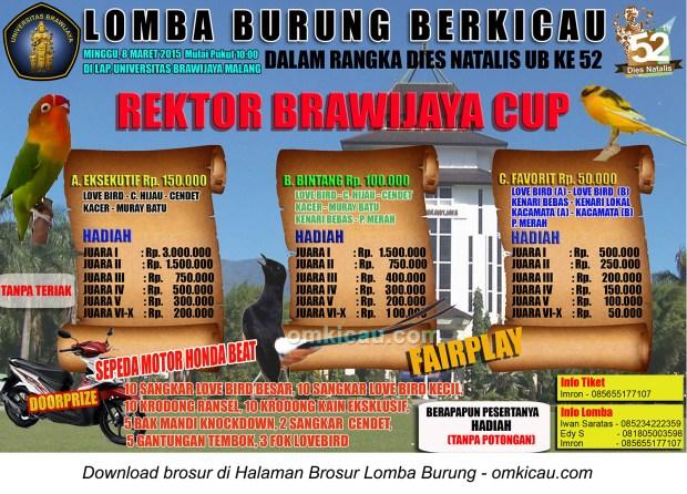 Brosur Lomba Burung Rektor Brawijaya Cup, Malang, 8 Maret 2015
