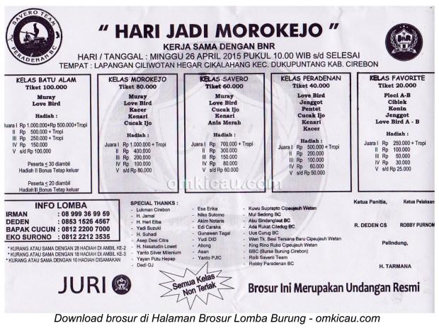 Brosur Lomba Burung Berkicau Hari Jadi Morokejo, Cirebon, 26 April 2015