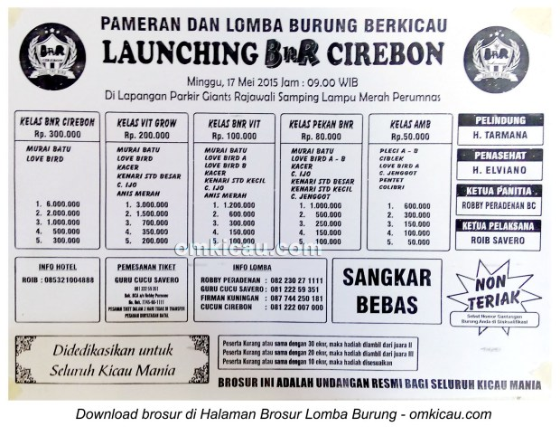 Brosur Lomba Burung Berkicau Launching BnR Cirebon, 17 Mei 2015