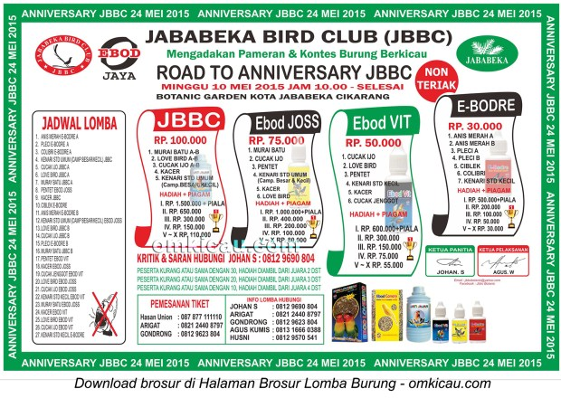 Brosur Lomba Burung Berkicau Road to Anniversary JBBC, Cikarang, 10 Mei 2015