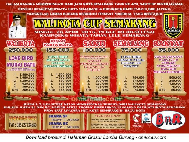 Brosur Lomba Burung Berkicau Wali Kota Semarang Cup, 26 April 2015
