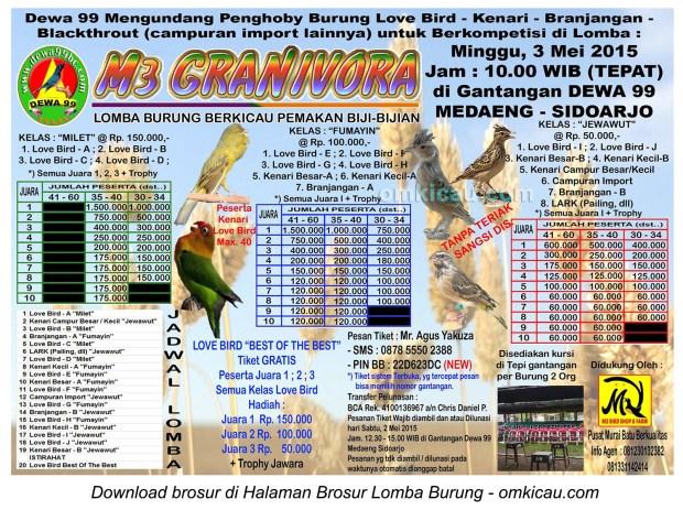 Brosur Lomba Burung Pemakan Bijian M3 Granivora, Sidoarjo, 3 Mei 2015