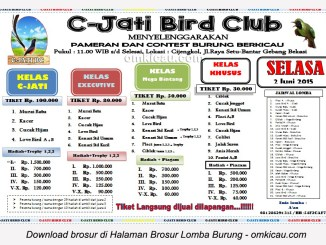 Brosur Lomba Burung Berkicau C Jati Bird Club, Bekasi, 2 Juni 2015