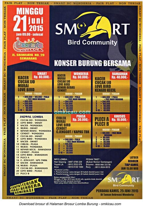 Brosur Konser Burung Bersama Smart Bird Community, Semarang, 21 Juni 2015