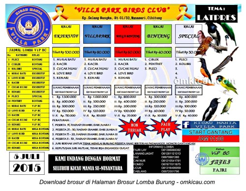 Brosur Latpres Burung Berkicau Villa Park Birds Club Cibitung, Bekasi, 5 Juli 2015