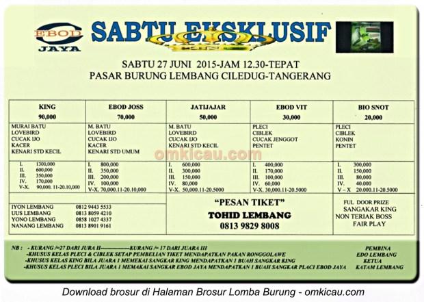 Brosur Latpres Sabtu Eksklusif PB Lembang Cileduk, Tangerang, 27 Juni 2015