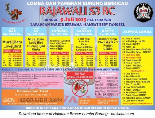 Brosur Lomba Burung Berkicau Rajawali S3 BC, Tangerang Selatan, 5 Juli 2015