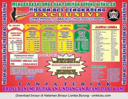 Brosur Lomba Burung Berkicau Rusun BCI Cengkareng Exclusive, Jakarta Barat, 5 Juli 2015