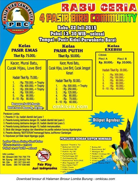 Brosur Lomba Burung Berkicau Rabu Ceria Pasir Bird Community, Purwokerto, 22 Juli 2015