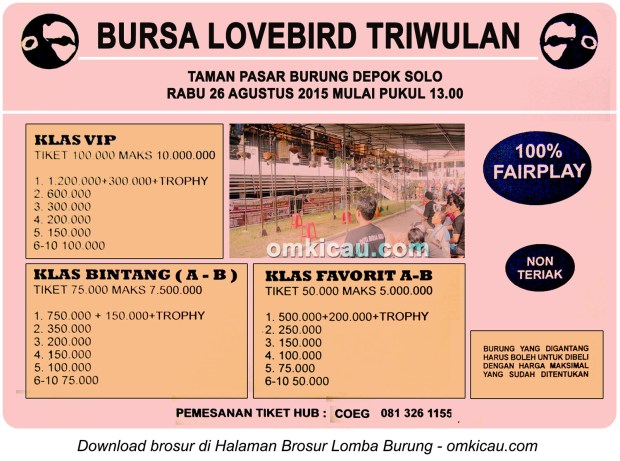 Brosur Bursa Lovebird Triwulan, PB Depok Solo, 26 Agustus 2015