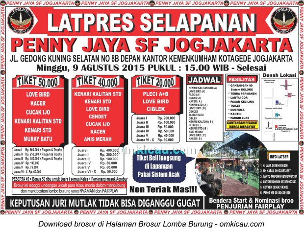 Brosur Latpres Selapanan Penny Jaya SF, Jogja, 9 Agustus 2015