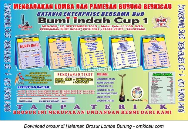 Brosur Lomba Burung Berkicau Bumi Indah Cup, Tangerang, 20 September 2015