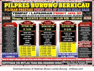 Brosur Pilpres Burung Berkicau Penny Jaya, Jogja, 23 Agustus 2015