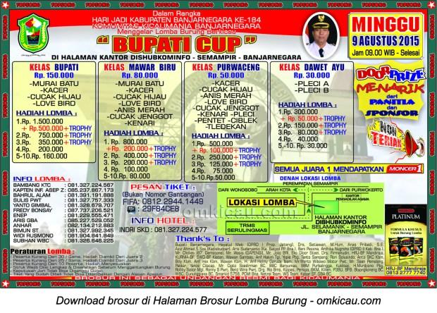 Brosur Revisi Lomba Burung Berkicau Bupati Cup, Banjarnegara, 9 Agustus 2015