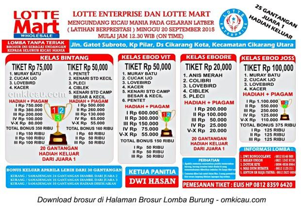 Brosur Latber Burung Berkicau Lotte Enterprise, Cikarang, 20 September 2015